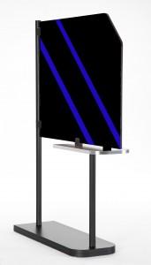 Dekotrennwand mit blauen Aufkleberstreifen1